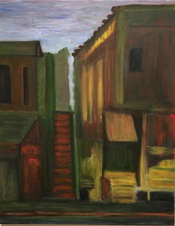 Street Scene Poster featuring the painting Chinatown by Marge Healy