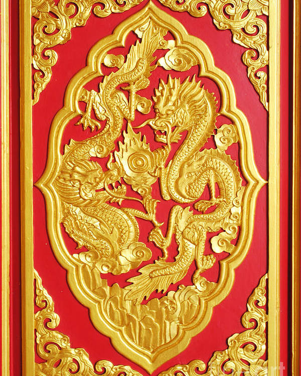 Chinese Poster featuring the ceramic art Chinese Design by Somchai Suppalertporn