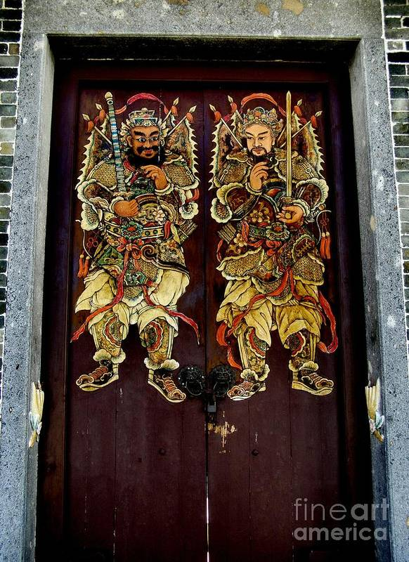 Old Temple Door Doors Way God Angel Protection Painting Hong Kong Poster  Featuring The Photograph Chinese