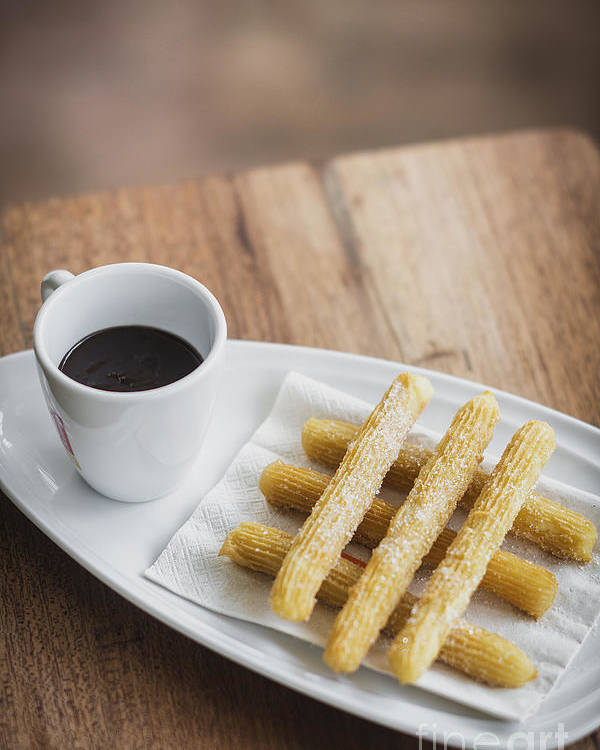 chocolate and churros traditional spanish snack food poster by jacek