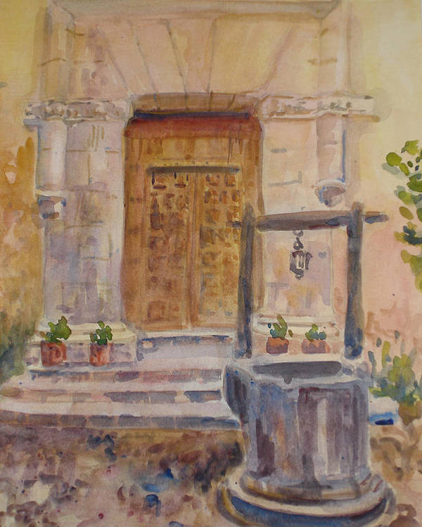 Doorway Poster featuring the painting Chris Coloh House Well by Joyce Kanyuk