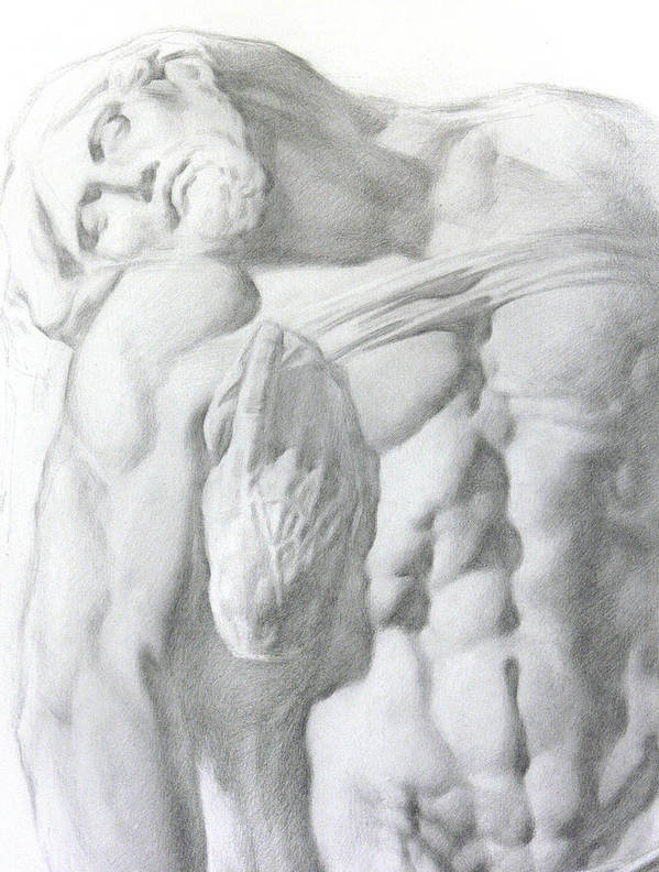 Nude Poster featuring the drawing Christ 1a by Valeriy Mavlo