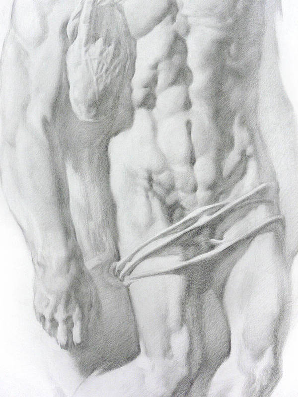 Nude Poster featuring the drawing Christ 1b by Valeriy Mavlo
