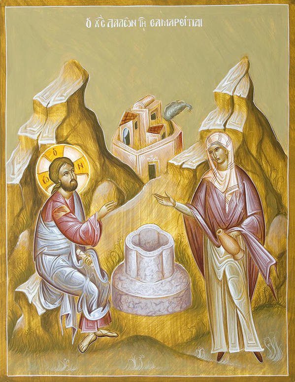 Christ And The Samaritan Woman Poster featuring the painting Christ And The Samaritan Woman by Julia Bridget Hayes
