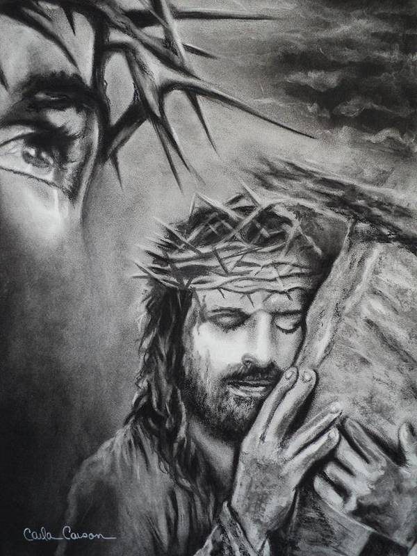 Christ Poster featuring the drawing Christ by Carla Carson