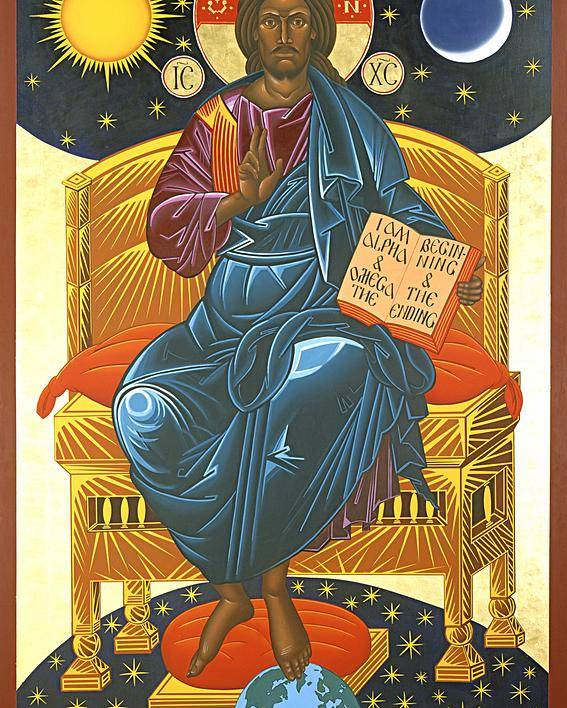 Christ Poster featuring the painting Christ Enthroned Icon by Mark Dukes
