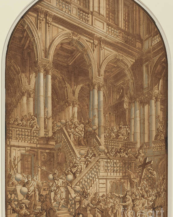 Poster featuring the drawing Christ Led Captive From A Palace by Giuseppe Galli Bibiena