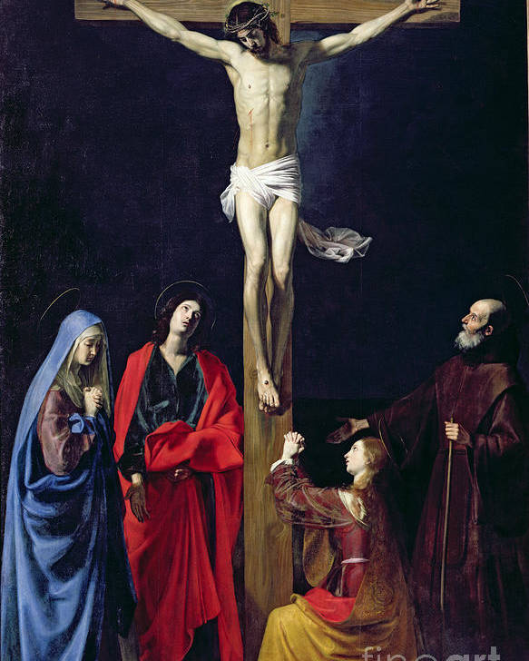 Christ Poster featuring the painting Christ On The Cross With The Virgin Mary Magdalene St John And St Francis Of Paola by Nicolas Tournier