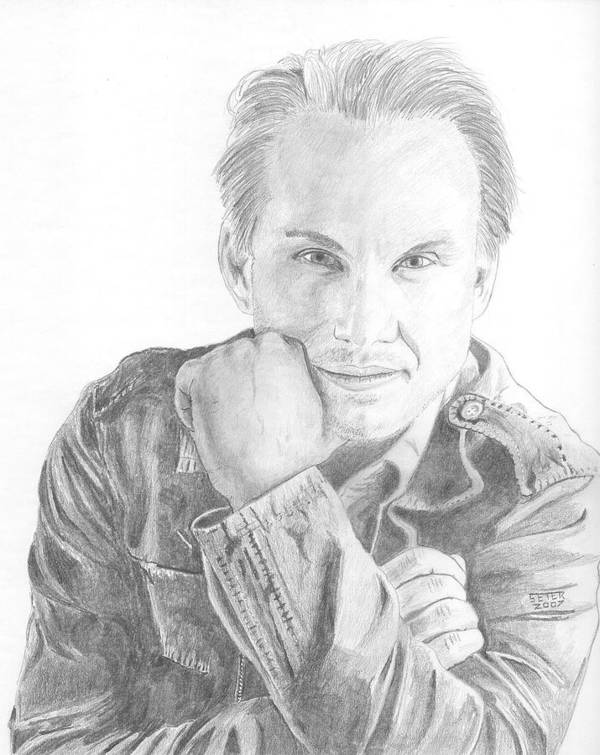 Christian Slater Poster featuring the drawing Christian Slater by David Seter