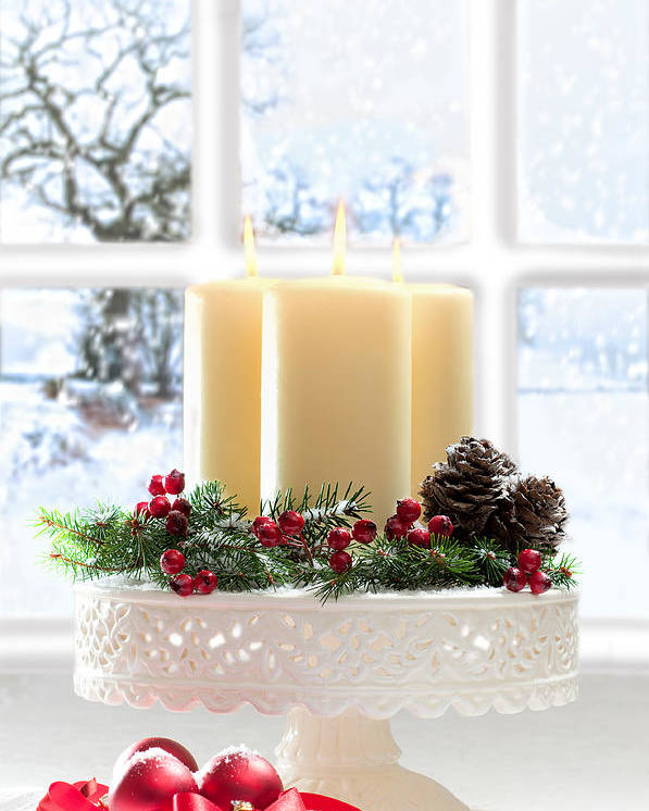 Christmas Poster featuring the photograph Christmas Candles Display by Amanda Elwell