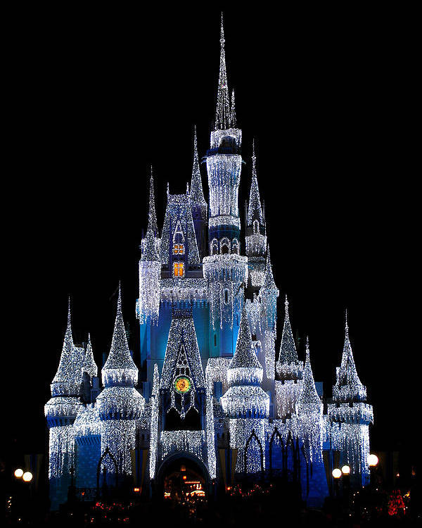 Disney Poster featuring the photograph Christmas Castle by Al Blackford