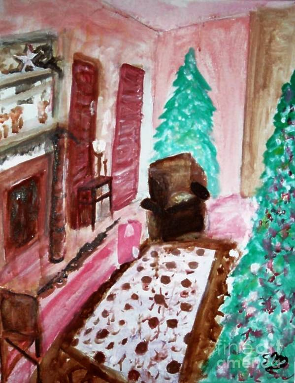 Christmas Poster featuring the painting Christmas Cheer by Stanley Morganstein