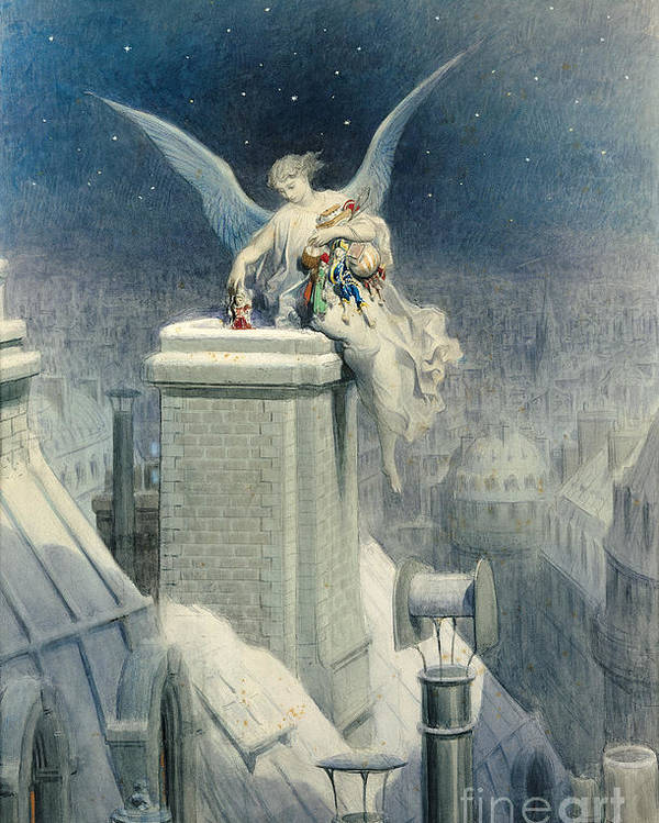 Christmas Poster featuring the painting Christmas Eve by Gustave Dore