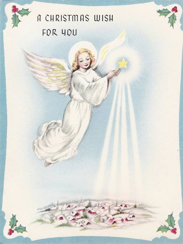Angels Christmas Cards.Christmas Greetings 1297 Vintage Christmas Cards Angel Blessing Village Poster