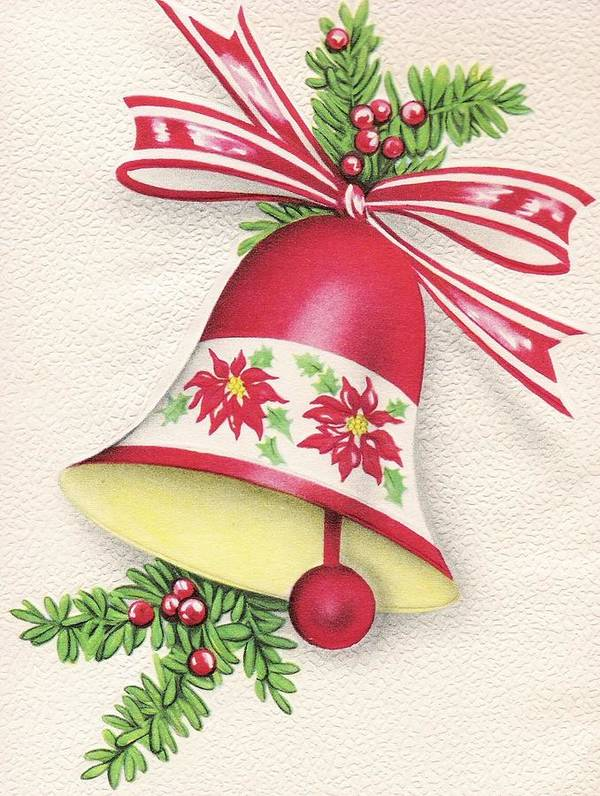 Christmas Bell.Christmas Illustration 310 Christmas Bell With Ribbon Poster