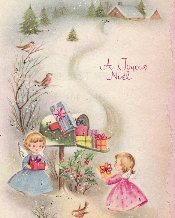Angels Christmas Cards.Christmas Illustration 754 Vintage Christmas Cards Baby Angels With Christmas Gifts Poster