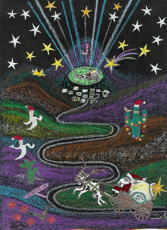 Christmas Poster featuring the drawing Christmas In Jerome Az by Ingrid Szabo