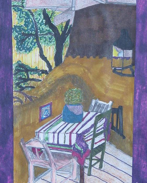 Abstract Christmas Poster featuring the painting Christmas On The Deck In Santa Fe by James SheppardIII