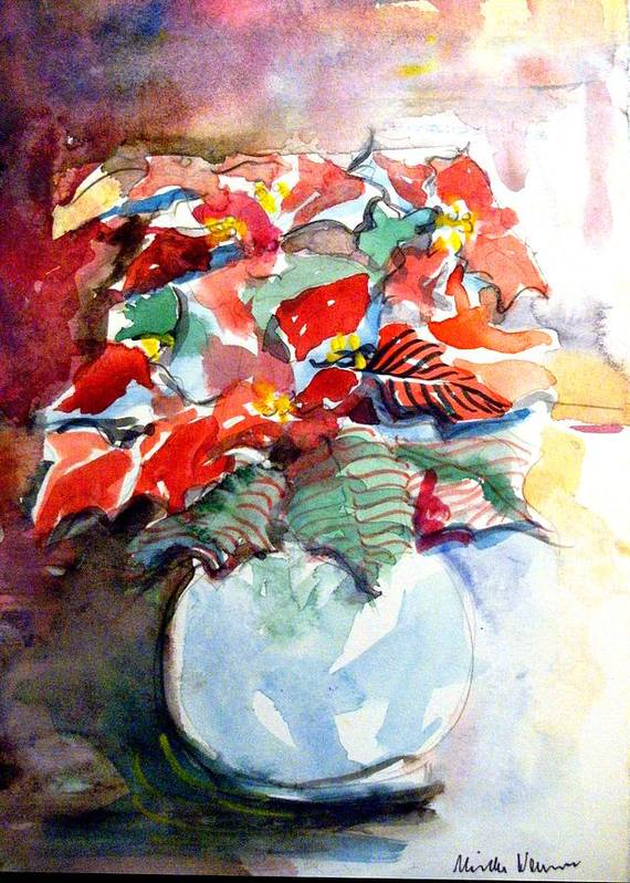 Poinsettia Poster featuring the painting Christmas Poinsettia by Mindy Newman
