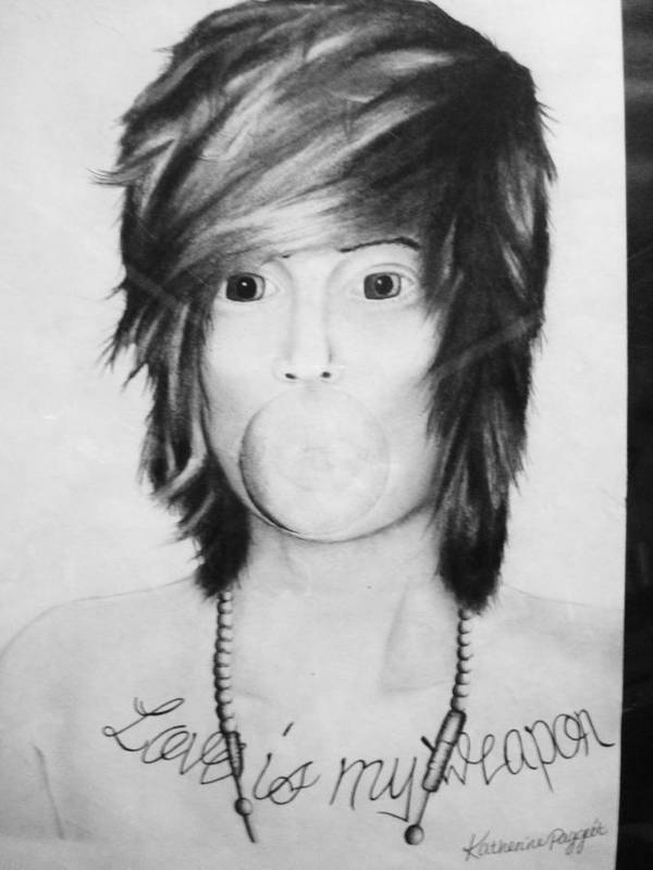 Charcoal Poster featuring the drawing Christofer Drew by Katherine Paggeot