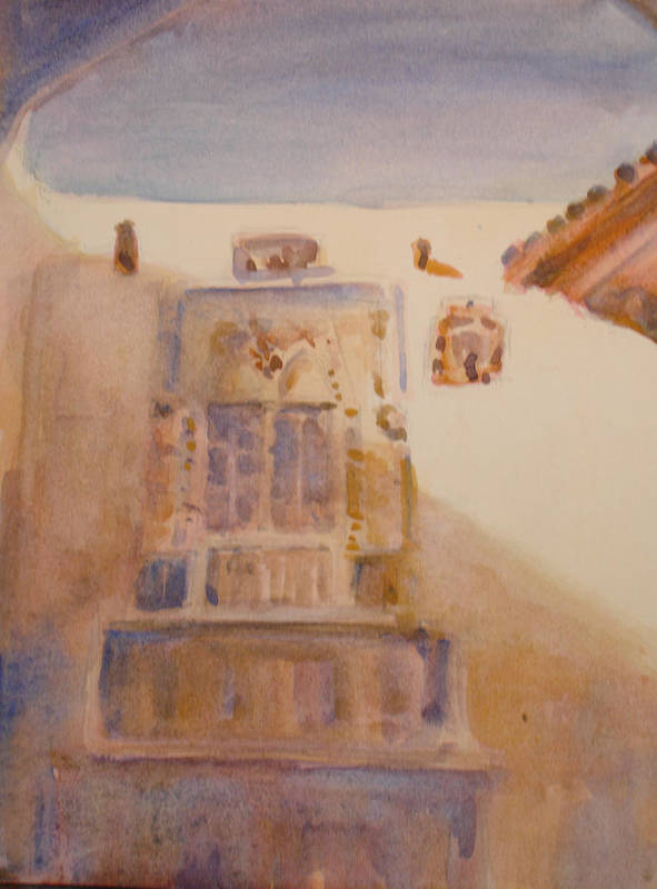 Adobe House Poster featuring the painting Christopher Colon House by Joyce Kanyuk