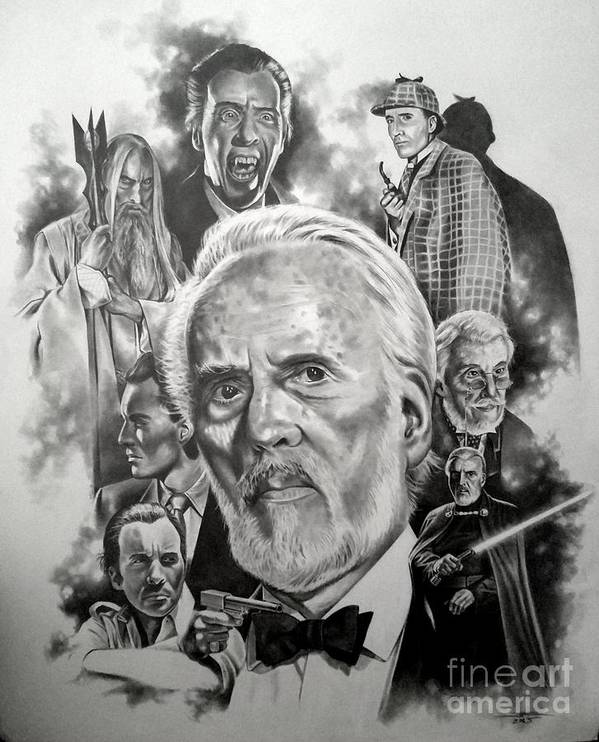 Christopher Lee Poster featuring the drawing Christopher Lee by James Rodgers