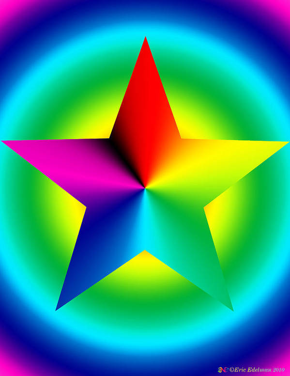 Pentacle Poster featuring the digital art Chromatic Star With Ring Gradient by Eric Edelman