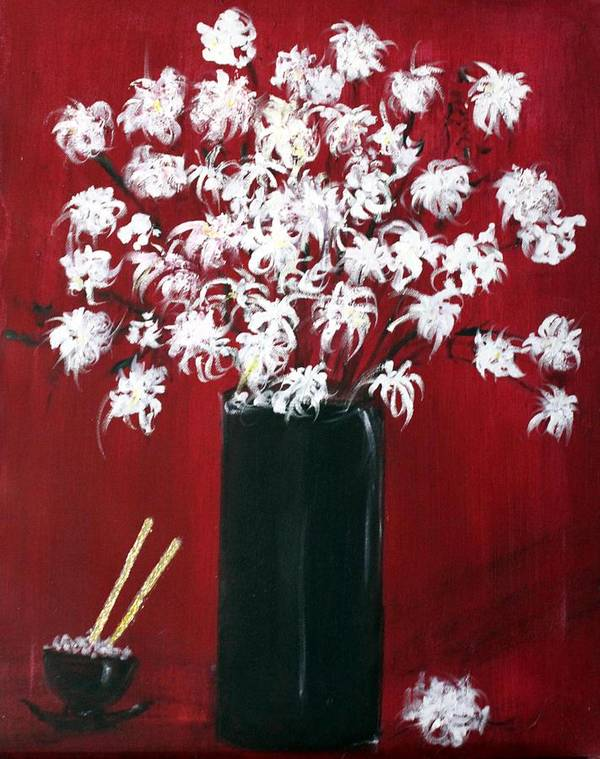 Still Life Poster featuring the painting Chrysanthemums And The Rice Bowl by Michela Akers