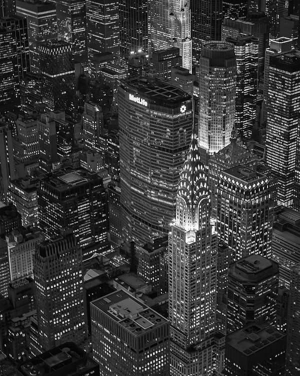 Aerial View Poster featuring the photograph Chrysler Building Aerial View Bw by Susan Candelario