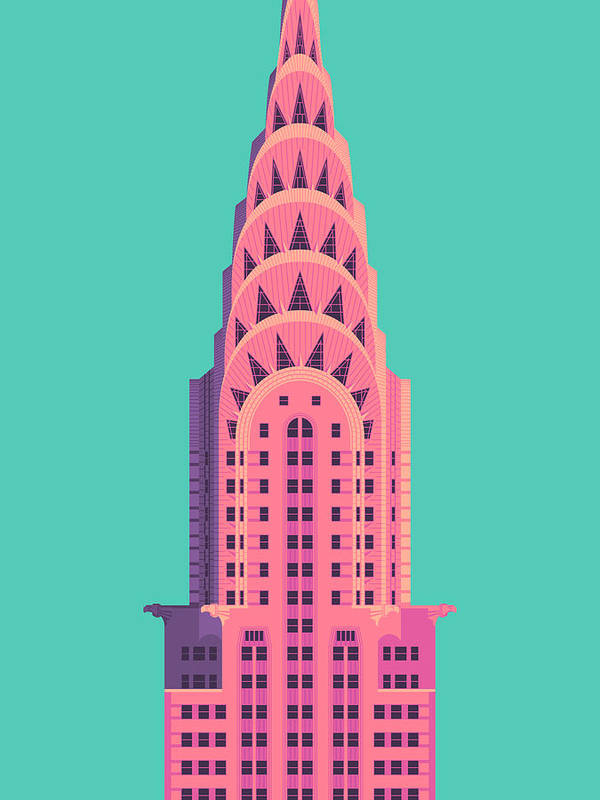 Architecture Poster featuring the digital art Chrysler Building - Green by Ivan Krpan
