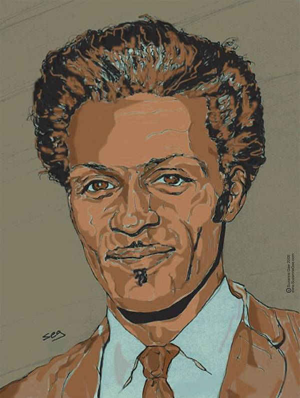 Chuck Berry Poster featuring the painting Chuck Berry - Brown-eyed Handsome Man by Suzanne Gee