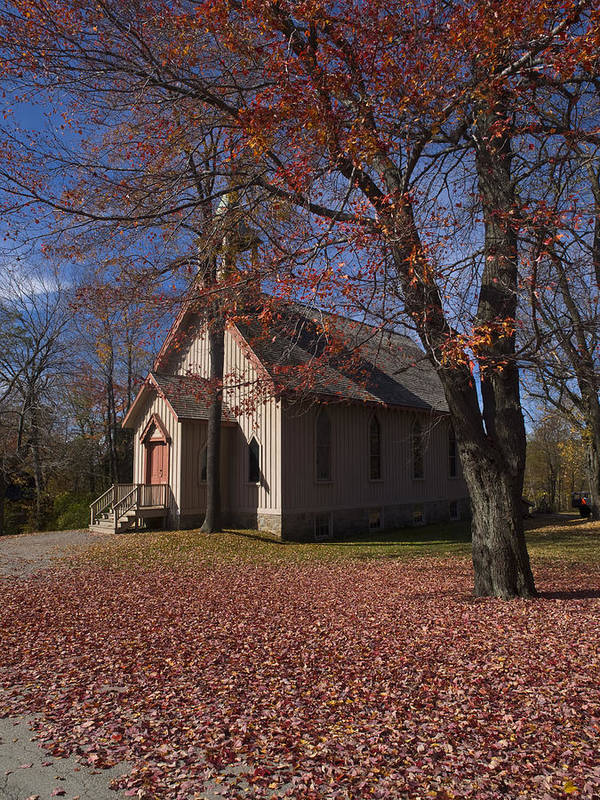 Nature; United States; Fall Foliage; Luzerne County; Historic Structure; Eckley Village; Church Poster featuring the photograph Church And Fall Foliage In Eckley Village by Bob Hahn