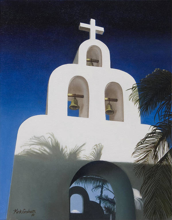 Church Poster featuring the painting Church At Playa Del Carmen by Kirk Graham