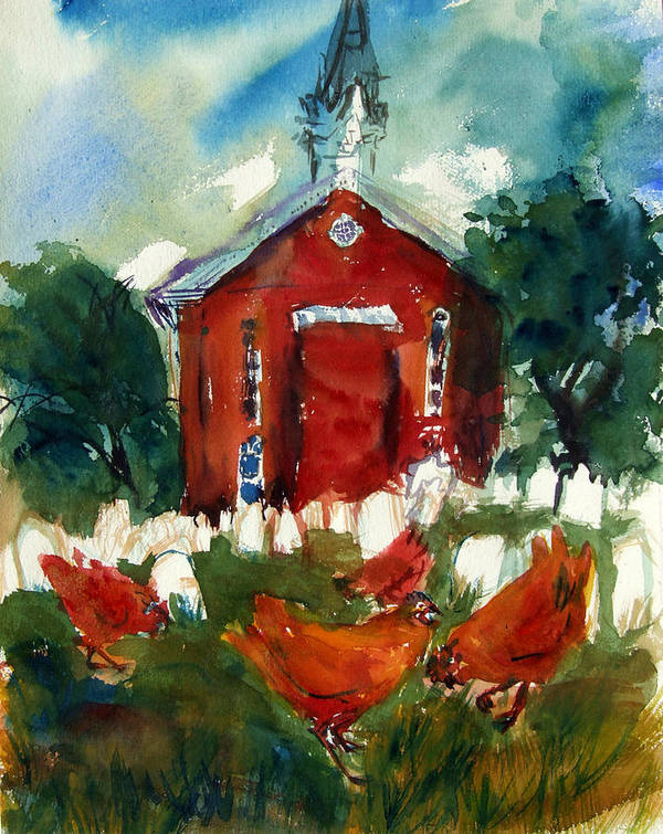 Chickens Poster featuring the painting Church Hens by Diana Ludwig