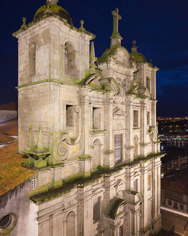 Portugal Poster featuring the photograph Church Of Saint Lawrence By Night In Porto by Artur Bogacki