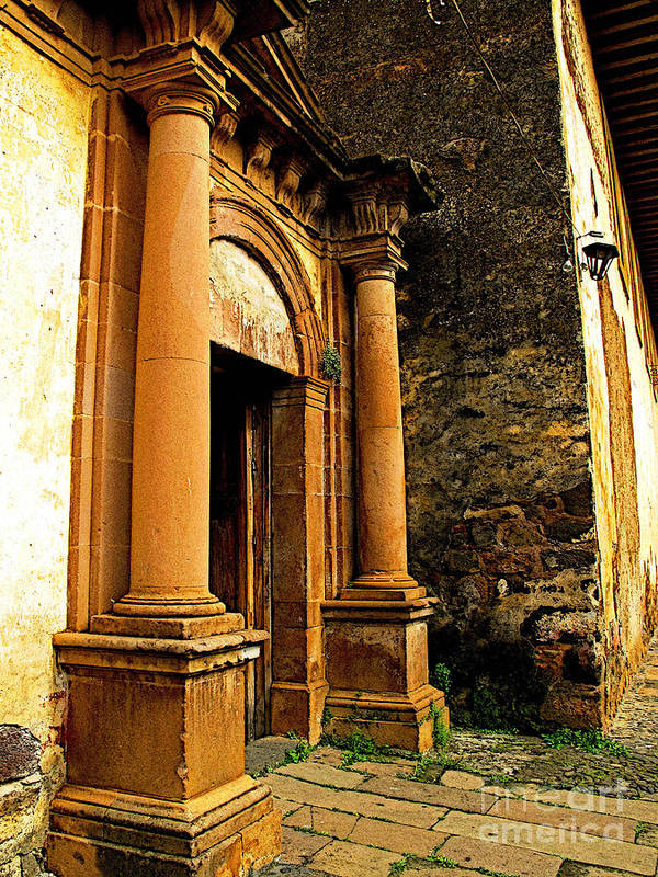 Patzcuaro Poster featuring the photograph Church Side Door by Mexicolors Art Photography