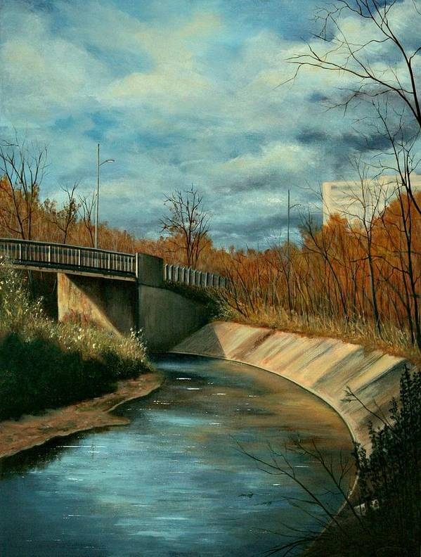 Original Acrylic Stretched Canvas Landscape Bridge Underpass Poster featuring the painting Church St. Underpass by Sharon Steinhaus