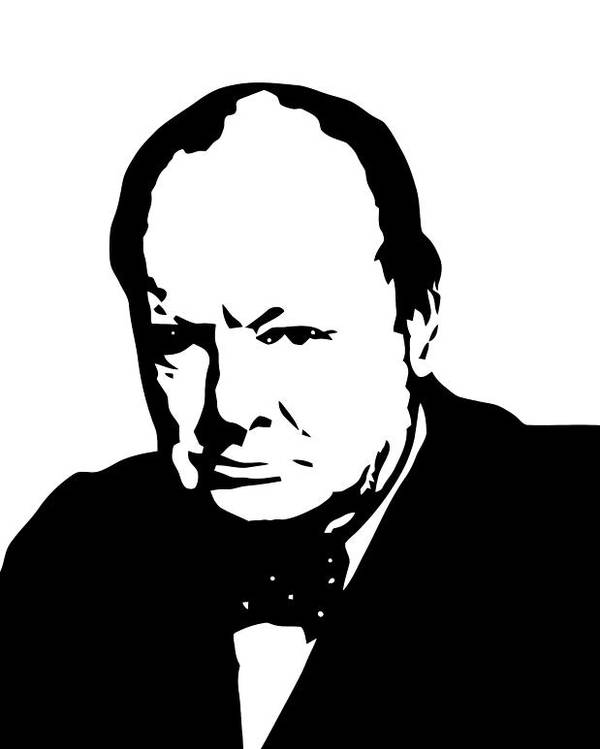 Winston Churchill Poster featuring the digital art Churchill by War Is Hell Store