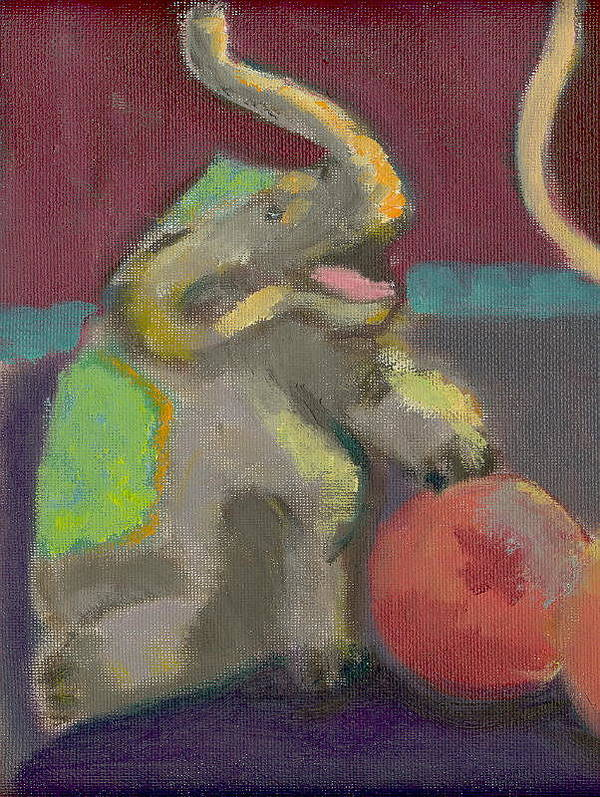 Elephant Circus Fantasy Happy Hillaryart Poster featuring the painting Circus Elephant With Ball by Hillary McAllister