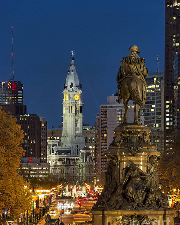 Art Museum Circle Poster featuring the photograph City Hall Philadelphia by John Greim