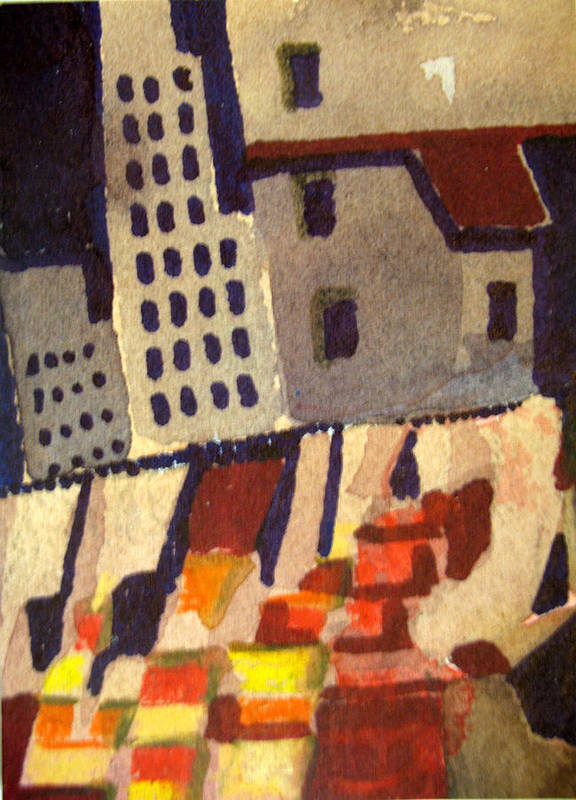Aceo Poster featuring the painting City In Collapse by Bill Meeker