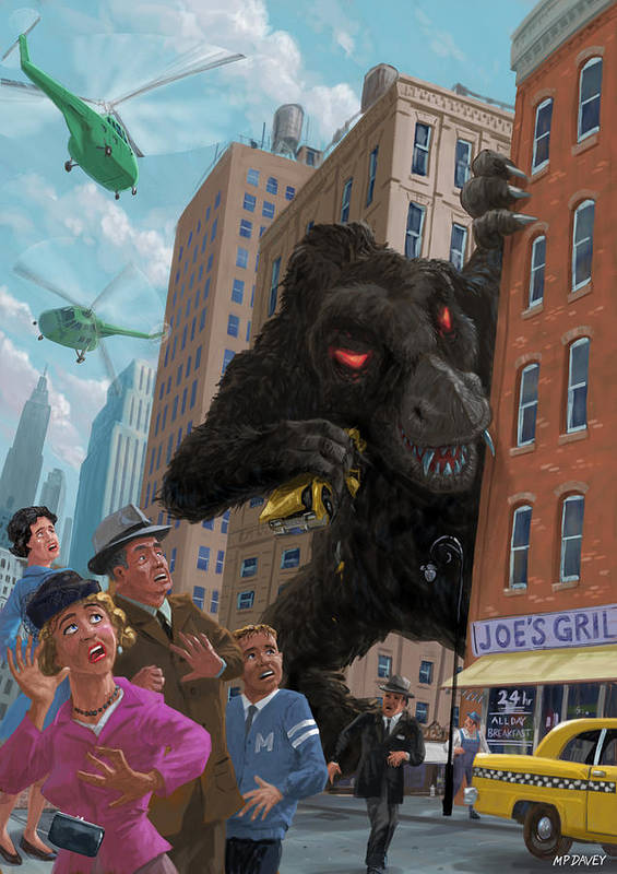 City Poster featuring the digital art City Invasion Furry Monster by Martin Davey