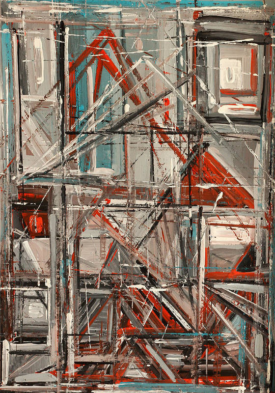 Abstract Poster featuring the painting City by Natia Tsiklauri