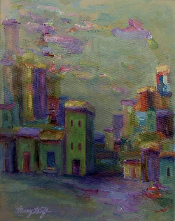 Cityscape Poster featuring the painting City Of Color And Light by Mary Wolf