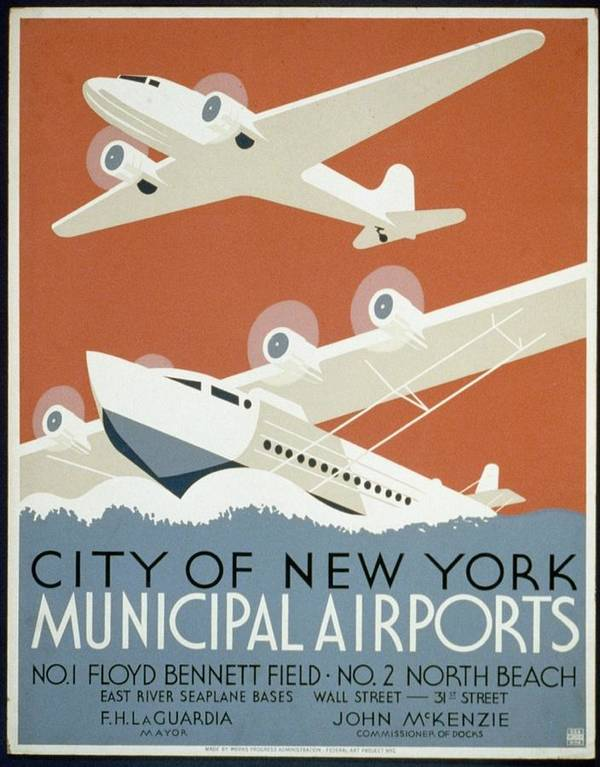 Christopher Denoon Poster featuring the digital art City Of New York Municipal Airports by Christopher DeNoon