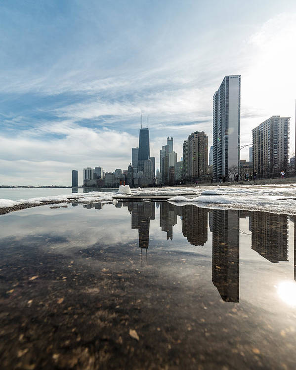 Chicago Poster featuring the photograph City Reflections by Andres Marin