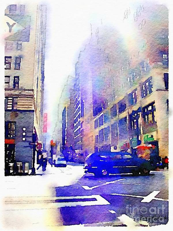 New York Poster featuring the digital art City Street by Denise Haddock