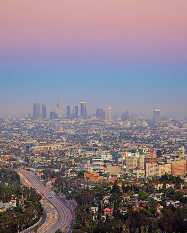 Vertical Poster featuring the photograph Cityscape Of Los Angeles by Eric Lo