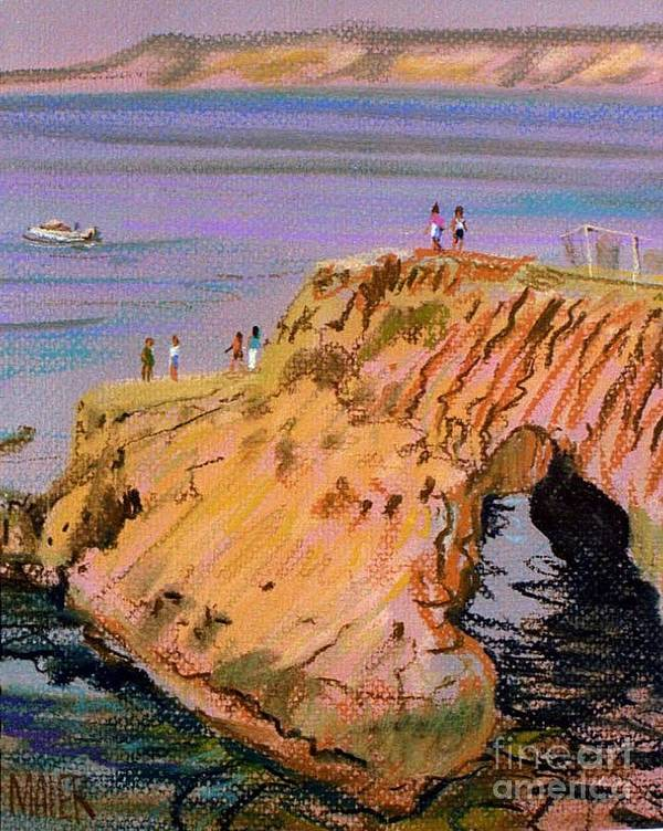 Clam Rock Poster featuring the painting Clam Rock Evening by Donald Maier