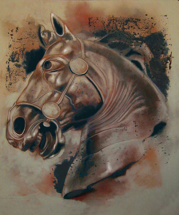 Drawing Poster featuring the digital art Classical Horse 5 by Tom Durham